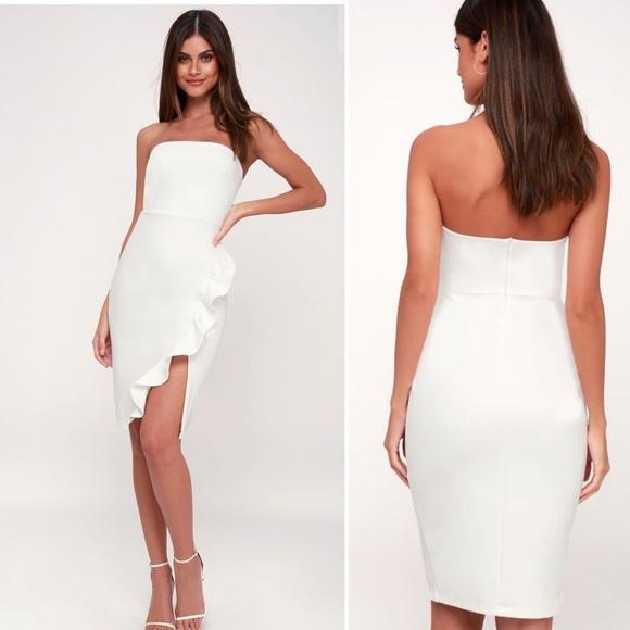 42ebdeb0b Lulu's Dresses | Lulus Anika Ruffled Strapless Bodycon Dress Size S ...